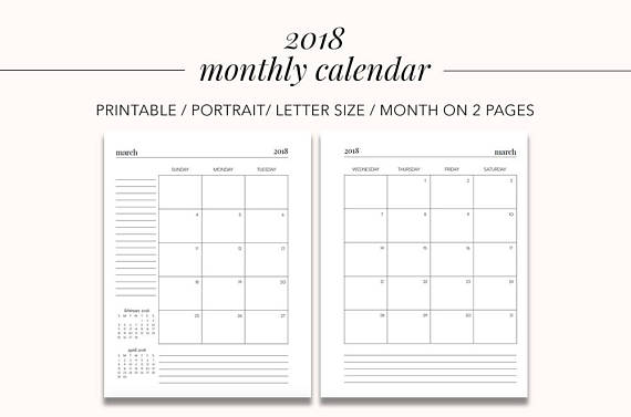 printable calendar 2 months per page 2018