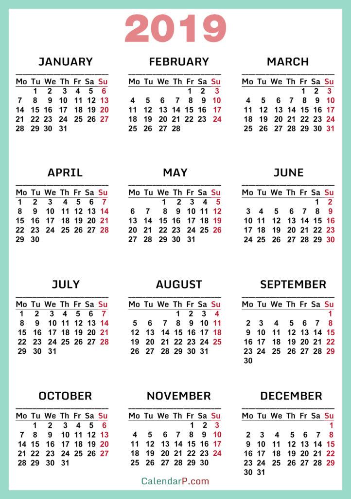High Resolution Calendars Monday Start \u2013 CalendarP Printable Free