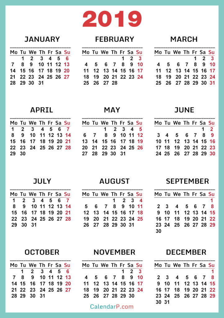 Calendars 790x1120px, Monday Start \u2013 CalendarP Printable Free