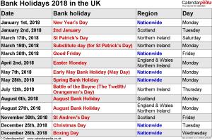 Calendar 2017 England England