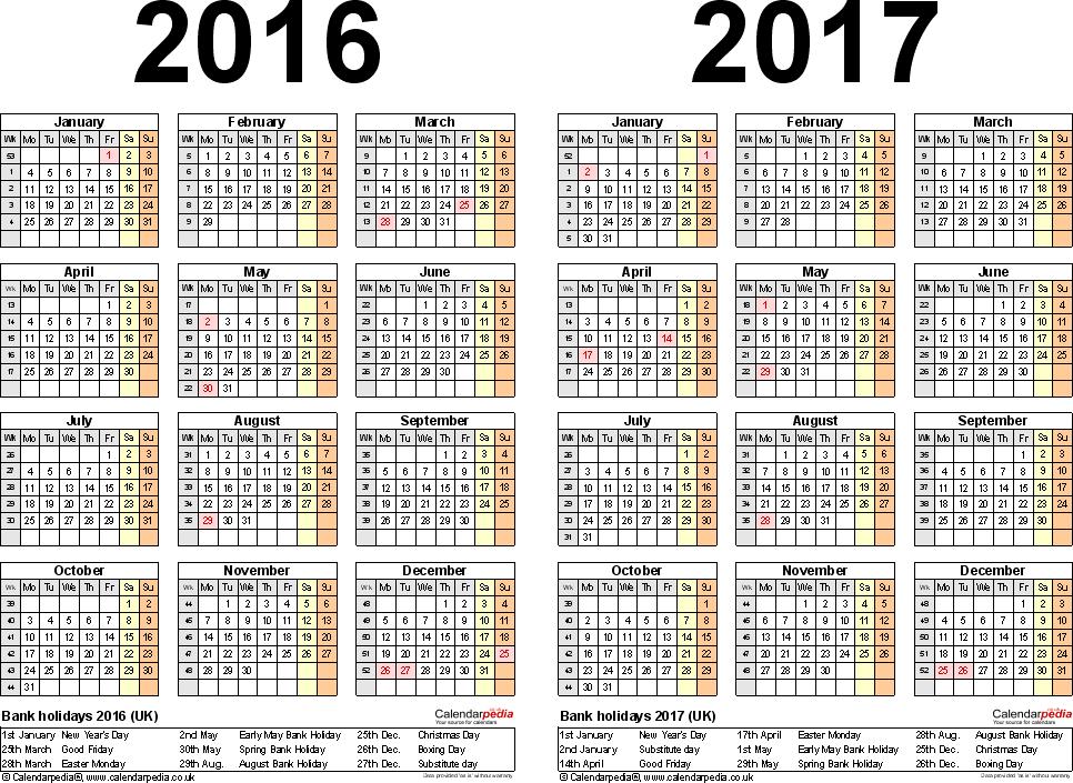 Kingdom 2017 – Calendar with British holidays. Yearly calendar ...