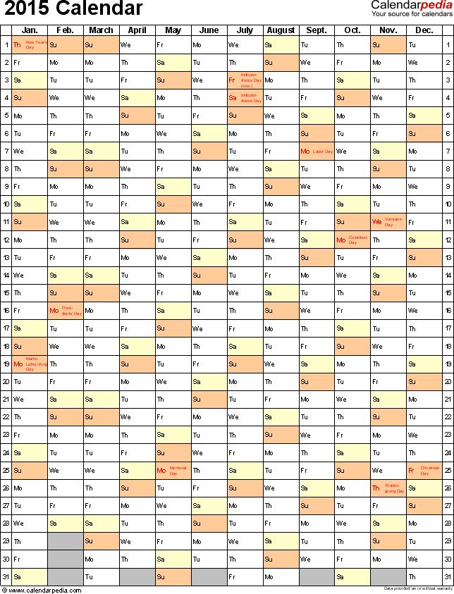 Printable 2014 Calendar On One Page Vertical 2015 Calendar 16 Free Printable Word Calendar Templates