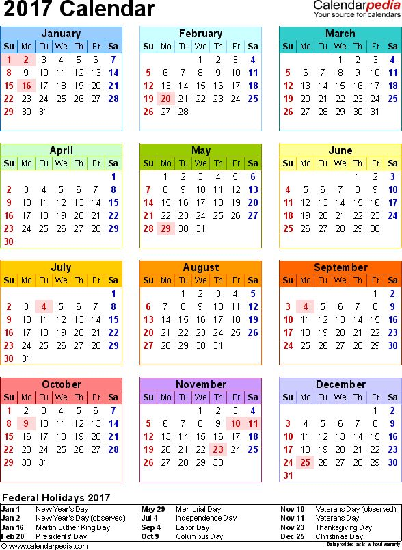 2017 Calendar with Federal Holidays  Excel/PDF/Word templates
