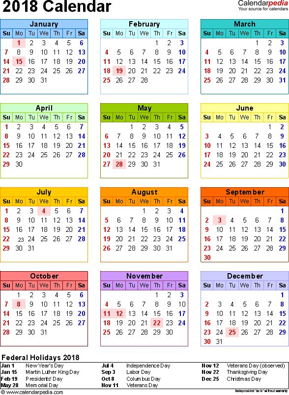 2018 Calendar with Federal Holidays  Excel/PDF/Word templates