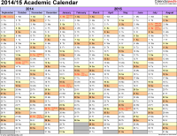 Academic calendars 2014/2015 as free printable Excel templates