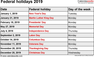 2019 national holiday calendar