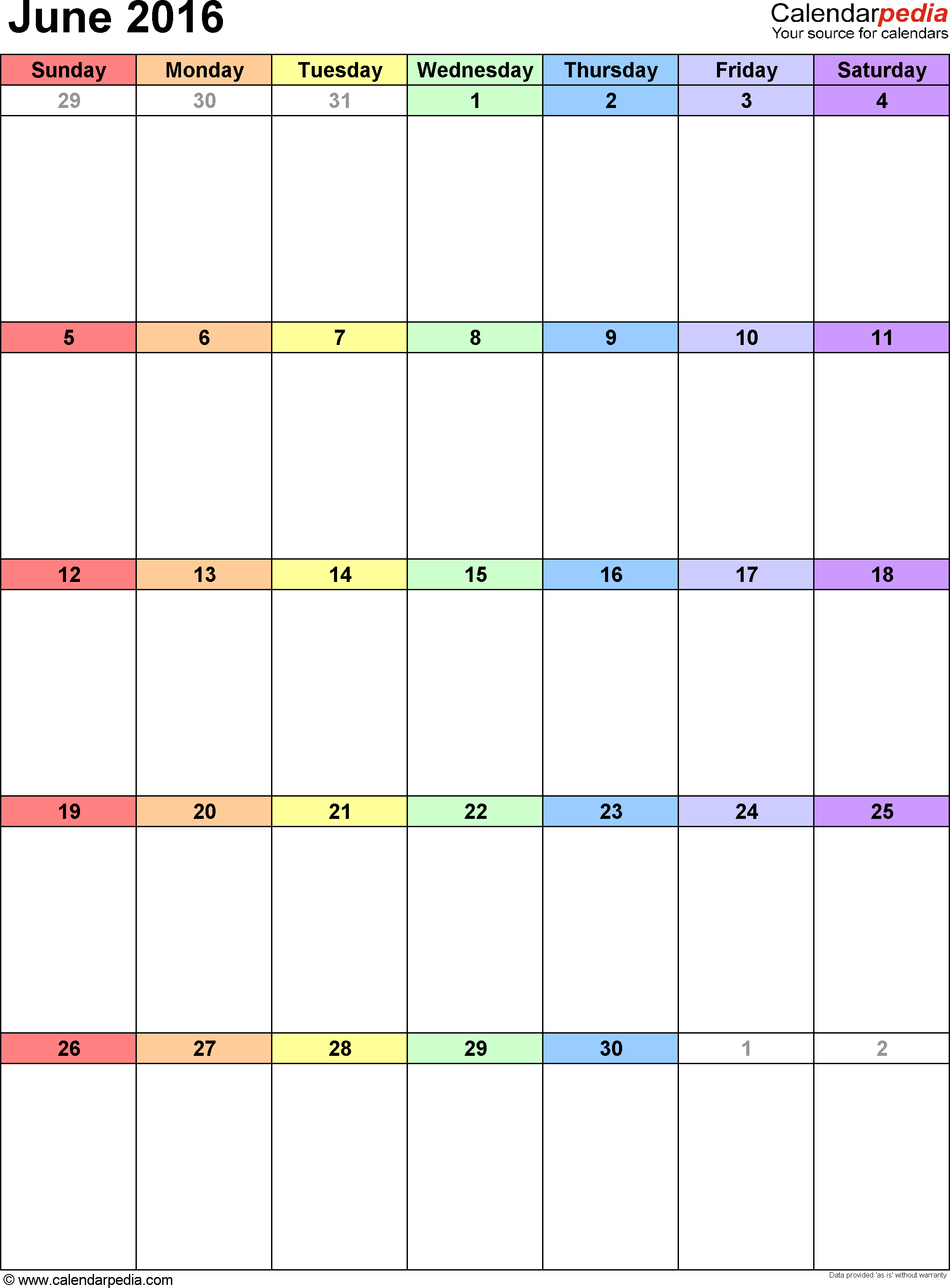 2015 Calendar Excel Download 16 Free Printable Templates June 2016 Calendars For Word Excel And Pdf