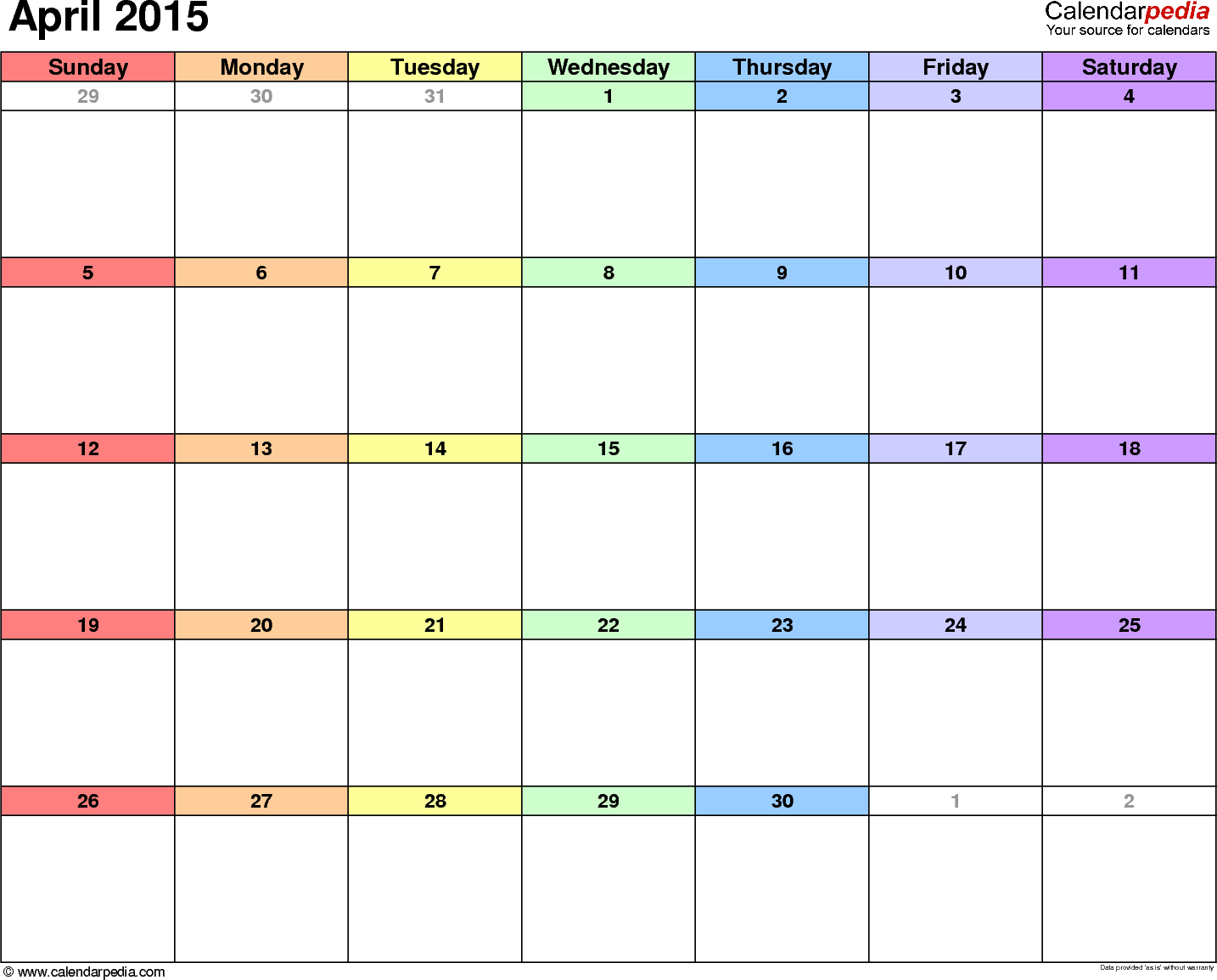 fillable calendars 2015