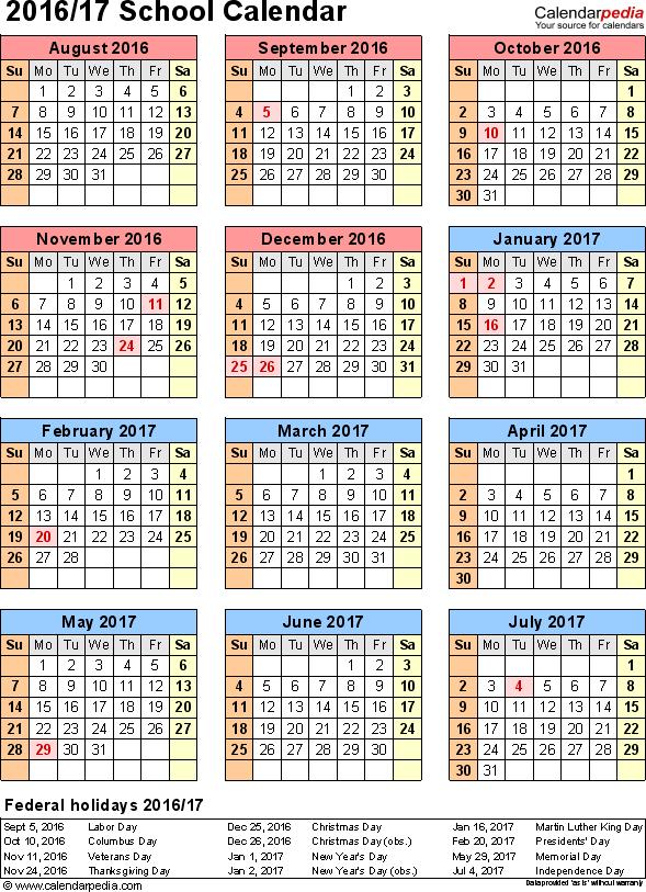 Public School Calendar Nyc 2016 17 Httpschoolsnycgovcalendardefaulthtm School Calendars 20162017 As Free Printable Pdf Templates