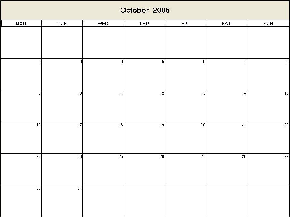 October 2006 printable blank calendar - Calendarprintablesnet - printable blank calendar