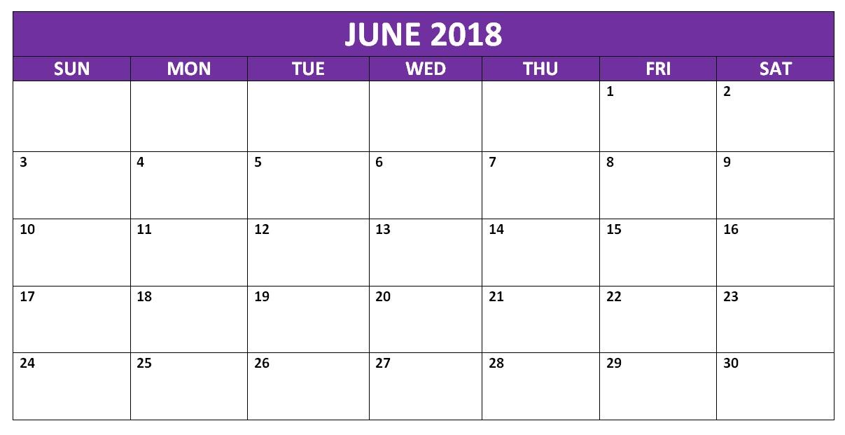 June 2018 Blank Template Calendar - Free Printable Calendar, Blank