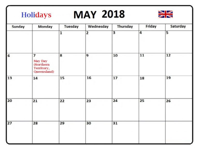 May 2018 Australia Holidays Calendar Template - Free Printable