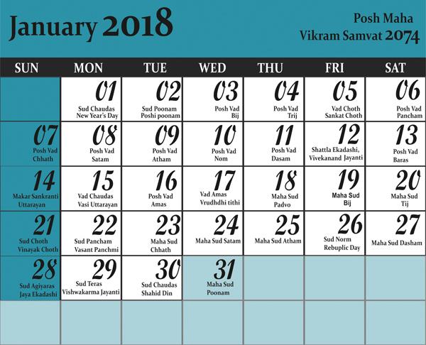 January 2019 Calendar Hindu Panchang