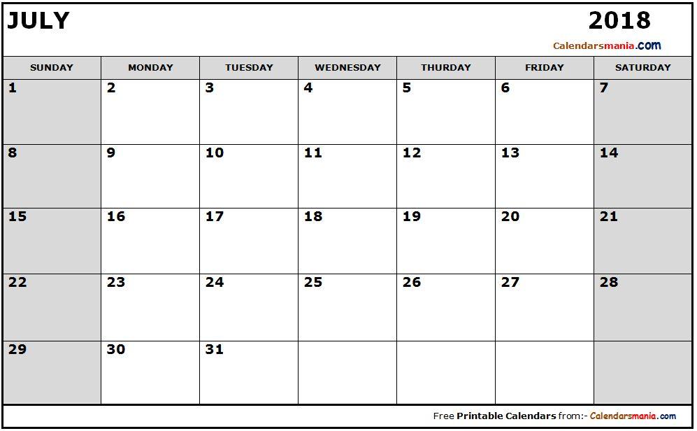 July 2018 Calendar Word