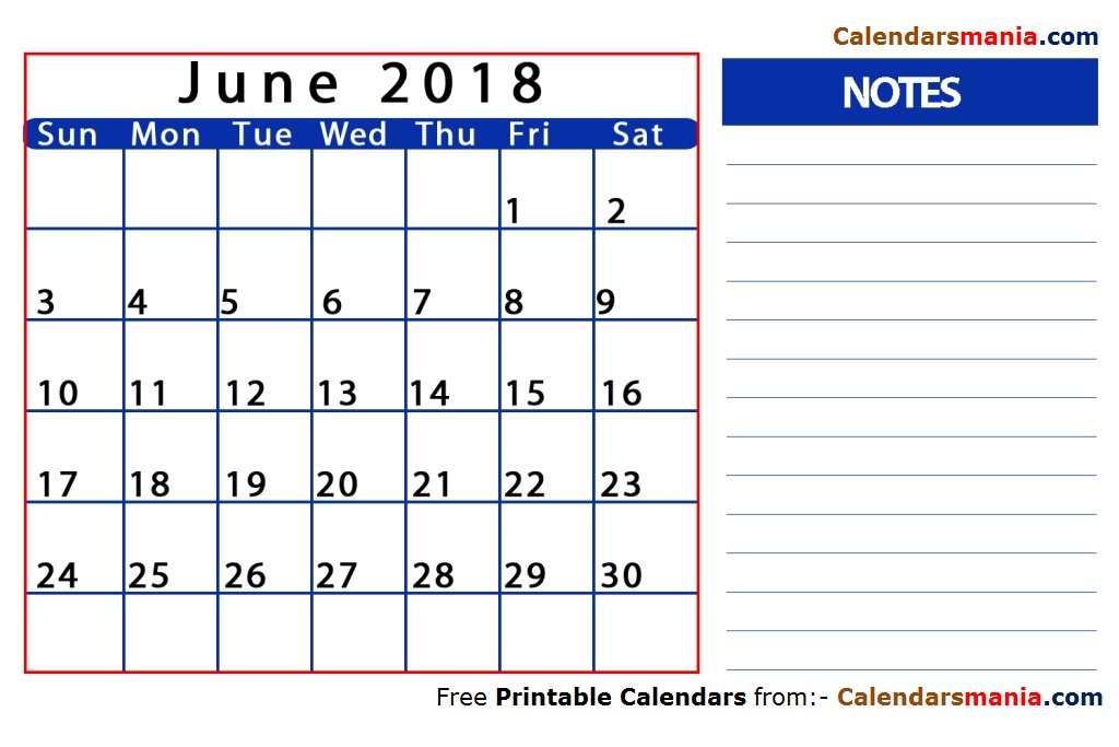 June 2018 Calendar With Notes