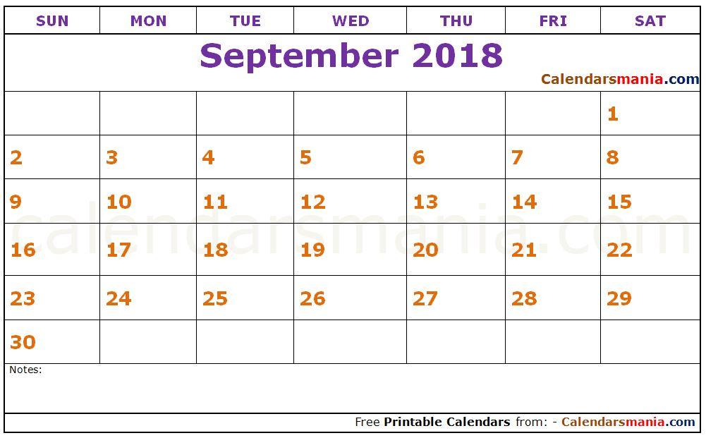 September 2018 Printable Calendar - printable calendar