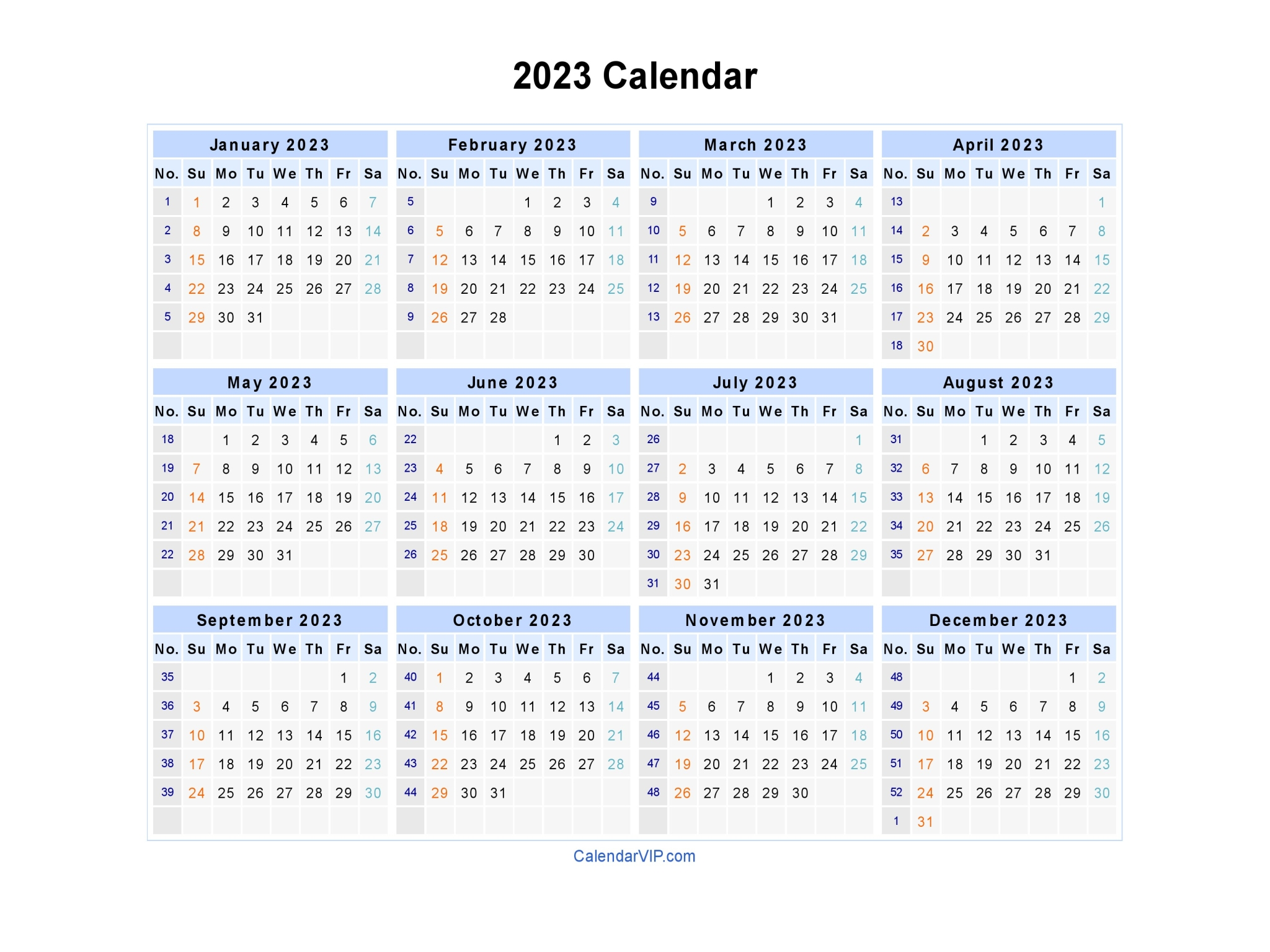annual calendar printable