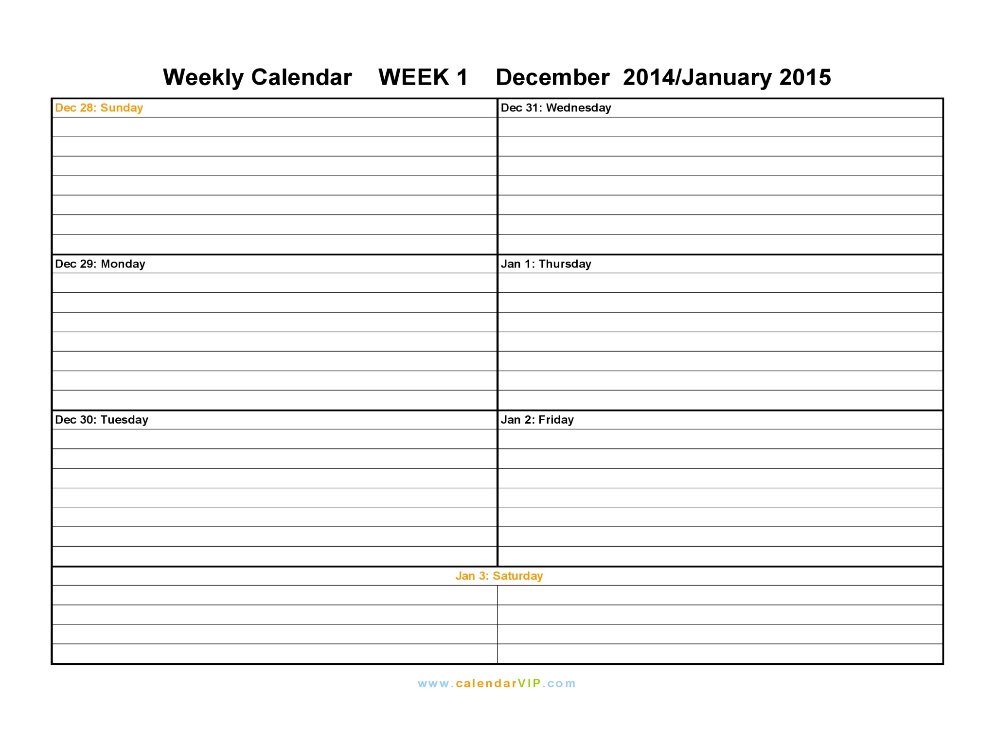 Printable Weekly Schedule Sun Sat | Calendar Template 2016