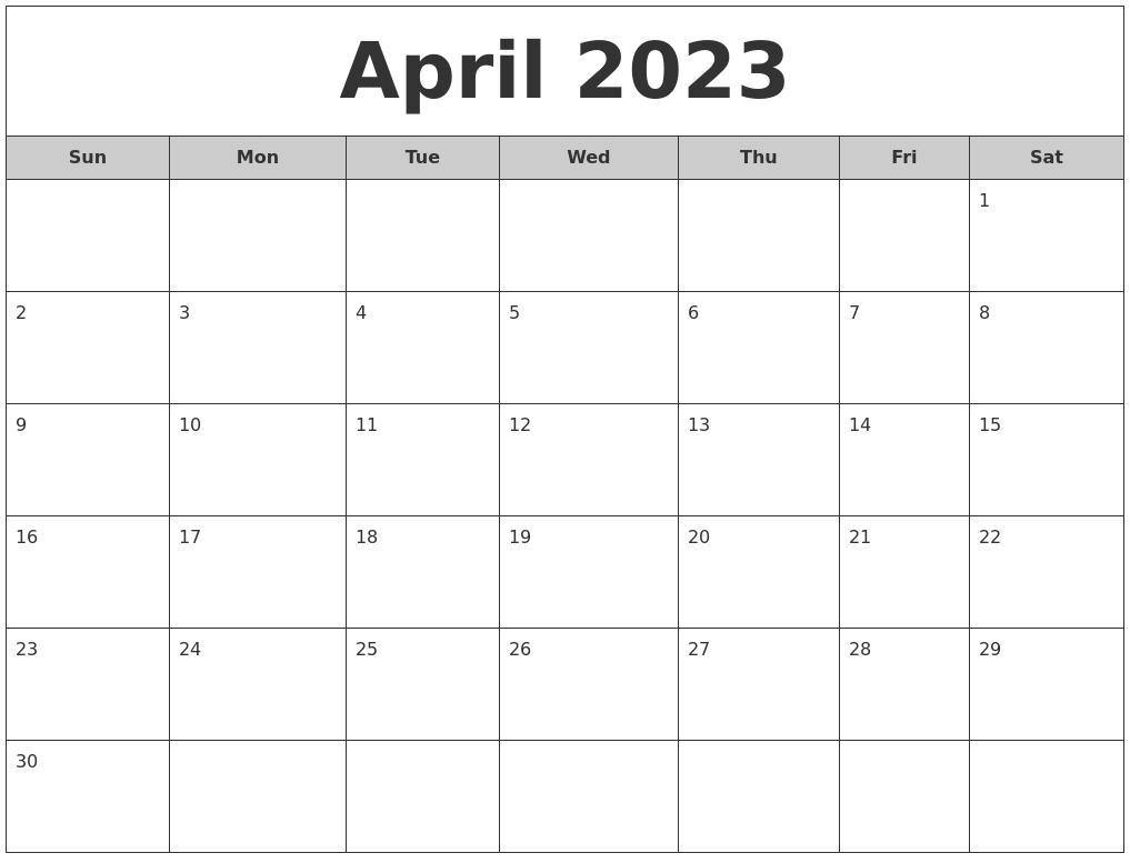 April Calendar Free Free Calendar August 2023 Printable Calander