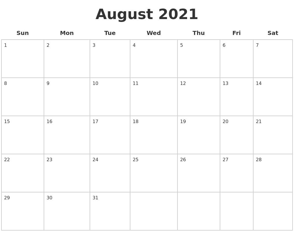 Calendar Blank Create Printable Calendar Pdf Timeanddate May 2021 Blank Monthly Calendar