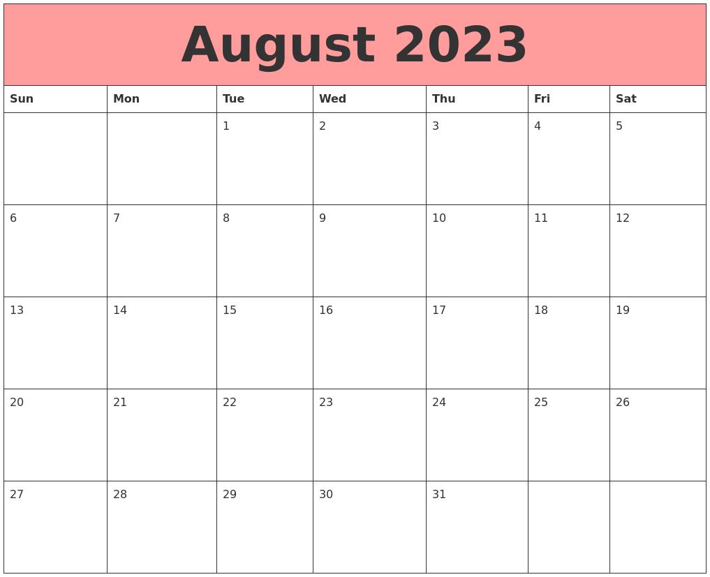 Calendars That Work Printable Calendar Templates August 2023 Calendars That Work