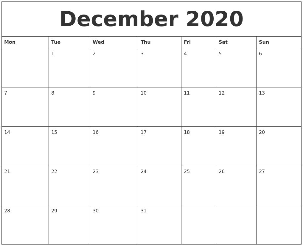 Time And Date December 2020 Printable Calendar Template
