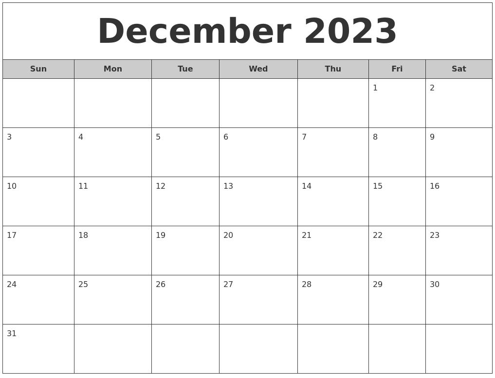 Free Printable Calendar Monthly Printable Calendar Templates December 2023 Free Monthly Calendar