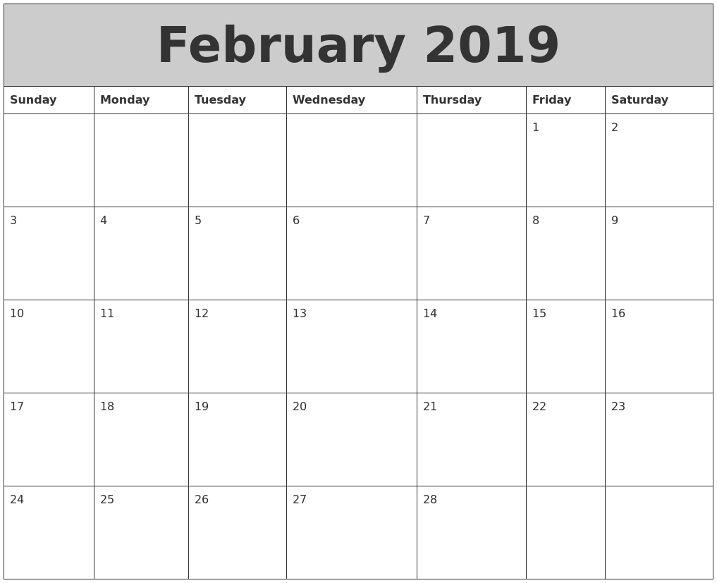 Calendar For 2019 Calendar For Year 2018 United States Time And Date February 2019 My Calendar