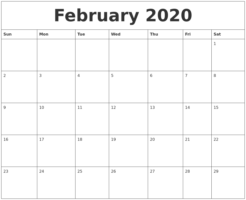 Online Calendar Printable Free Free Printable Calendar Make Your Own Custom Printable February 2020 Free Online Calendar