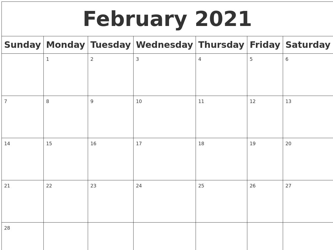 Calendar Blank Print A Blank Calendar Outlook February 2021 Blank Calendar