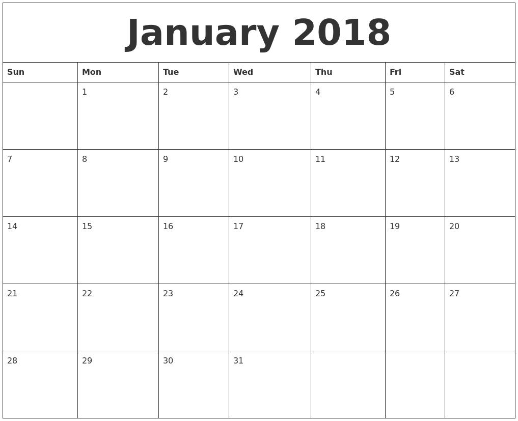 Calendar For Free Online Online Calendar Time And Date January 2018 Free Online Calendar