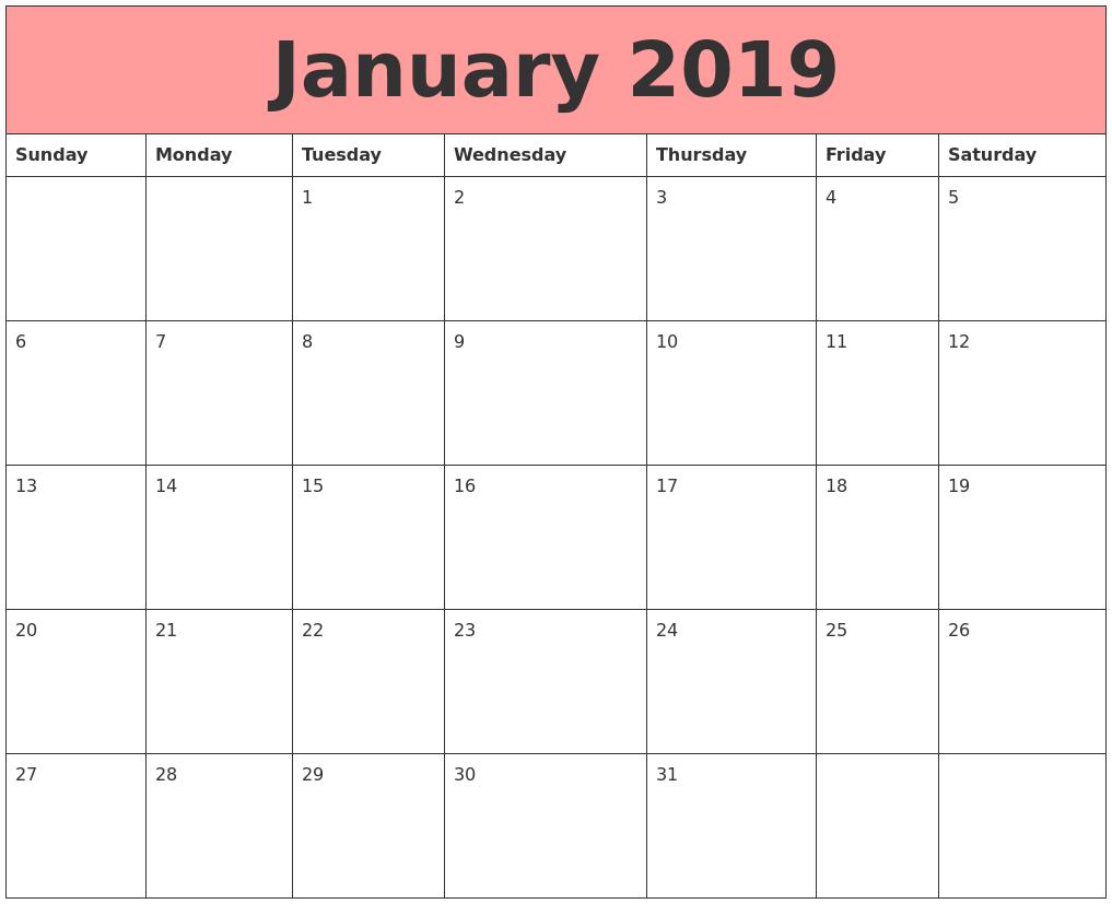 jan 2019 blank calendar