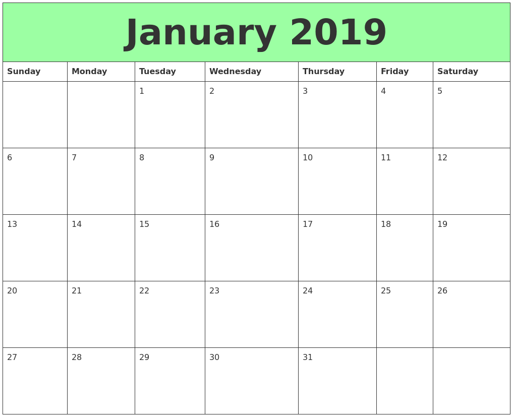 Image result for january 2019 calendar landscape
