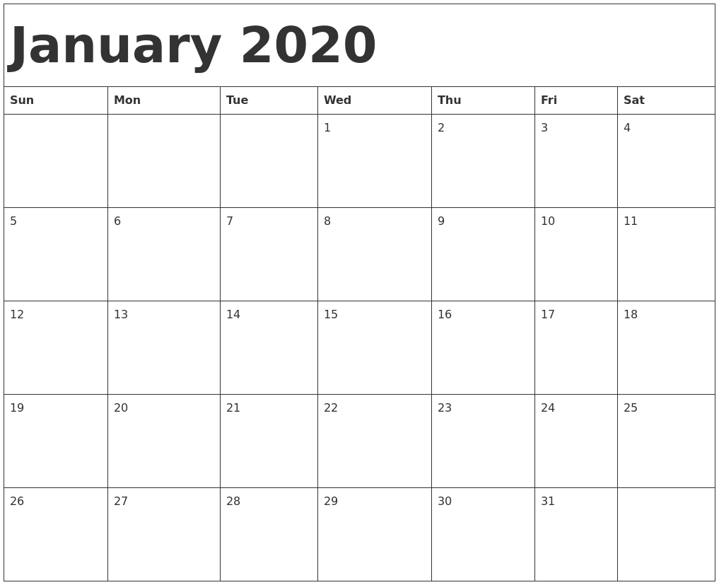 calendar template jan 2019