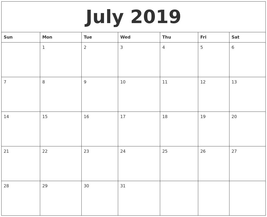 Free Printable Calendars Blank Printable Calendar Templates July 2019 Free Printable Blank Calendar
