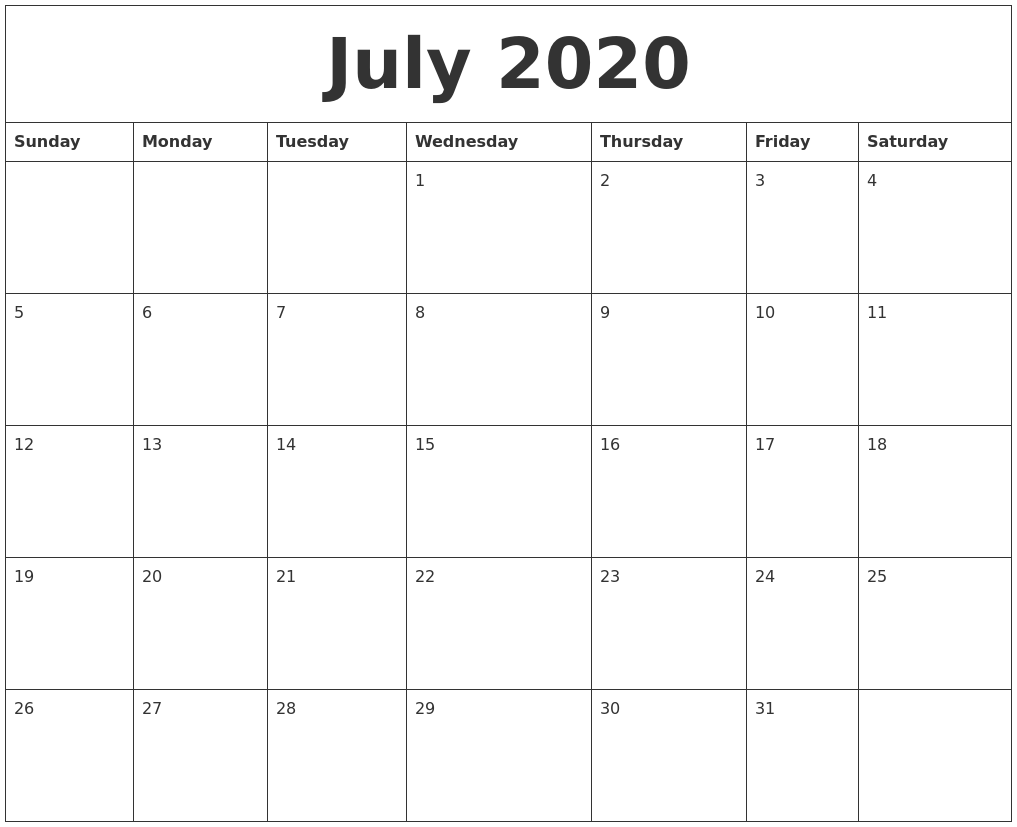 Free Printable Calendar Blank Printable Calendar Free Blank Pdf 2018 2019 Calendar July 2020 Free Blank Calendar