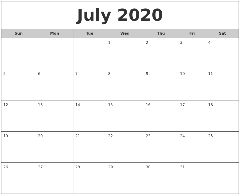 July 2017 Calendar United States Time And Date August 2020 Calendar Pages