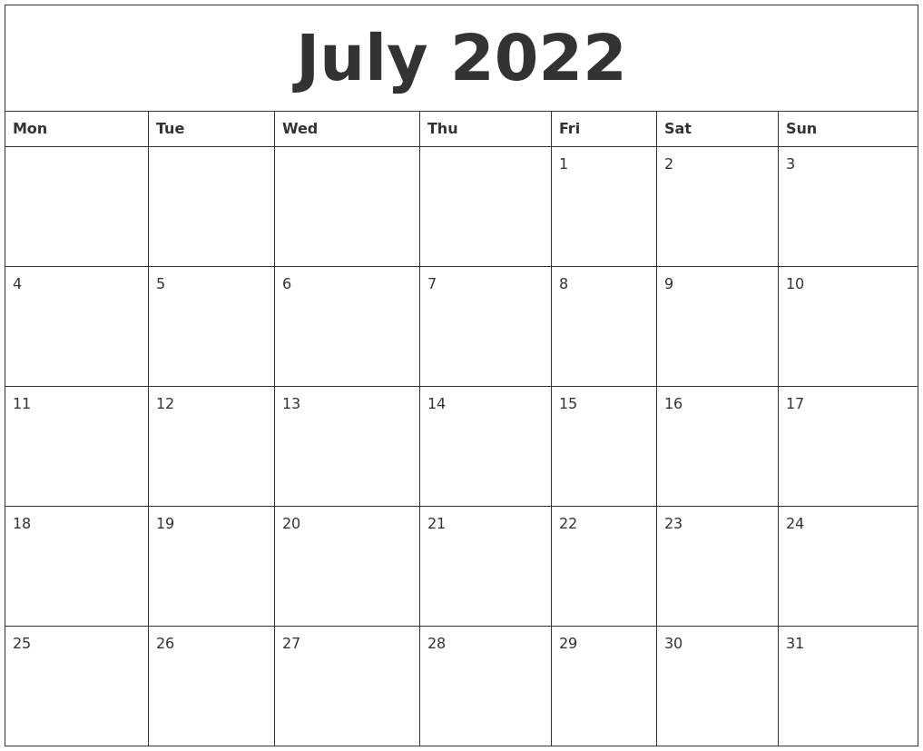 Free Printable Calendar Monthly Template Free Printable Calendar Templates 2016 July 2022 Free Monthly Calendar Template