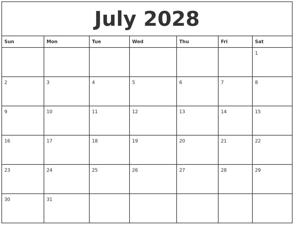 Calendar Month Time And Date July 2028 Printable Monthly Calendar