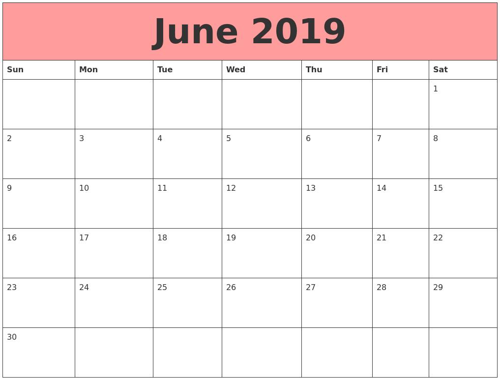 Calendar For 2019 Printable 2019 Calendar June 2019 Calendars That Work