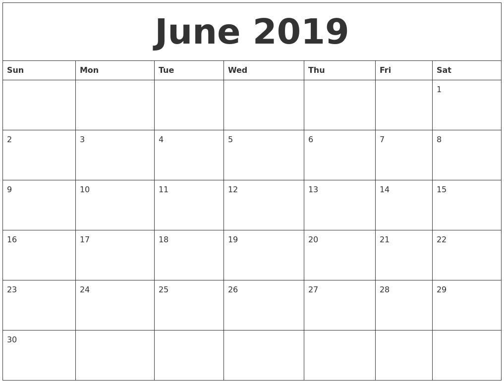 Free Printable Calendar Blank Free Printable Calendar Make Your Own Custom Printable June 2019 Free Blank Calendar Template