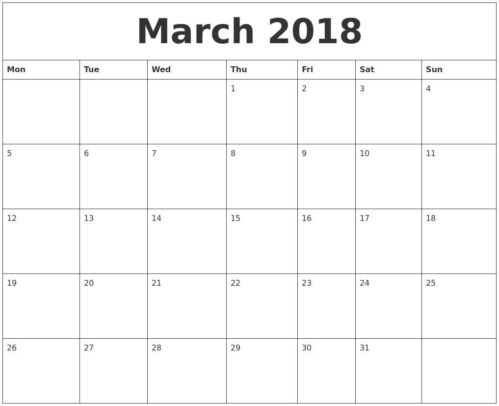 Calendars To Print Out Large Print Calendars Big Letters And Numbers Monster March 2018 Print Out Calendar
