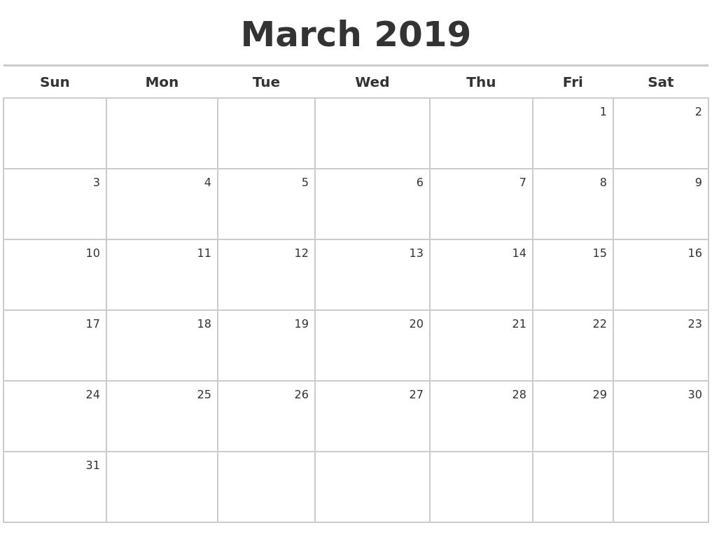 calendar maker 2019