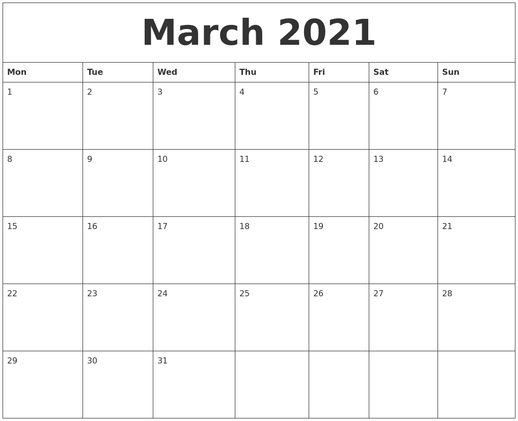 Free Printable Calendar Monthly Printable Calendar 2018 Yearly Calendar Free Free March 2021 Free Printable Monthly Calendar