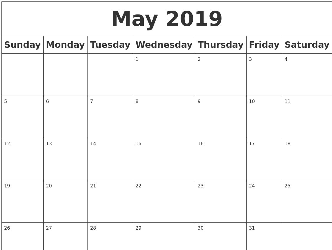 Picture Blank Calendar Blank Calendar Print Out Calendar Picture Templates May 2019 Blank Calendar