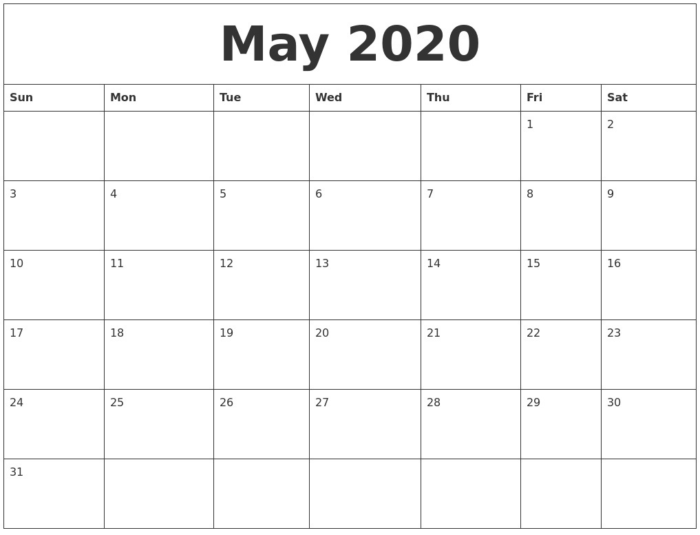 Free Calendars Print Print Your Own Free Calendar My Calendar Maker May 2020 Free Calendars To Print