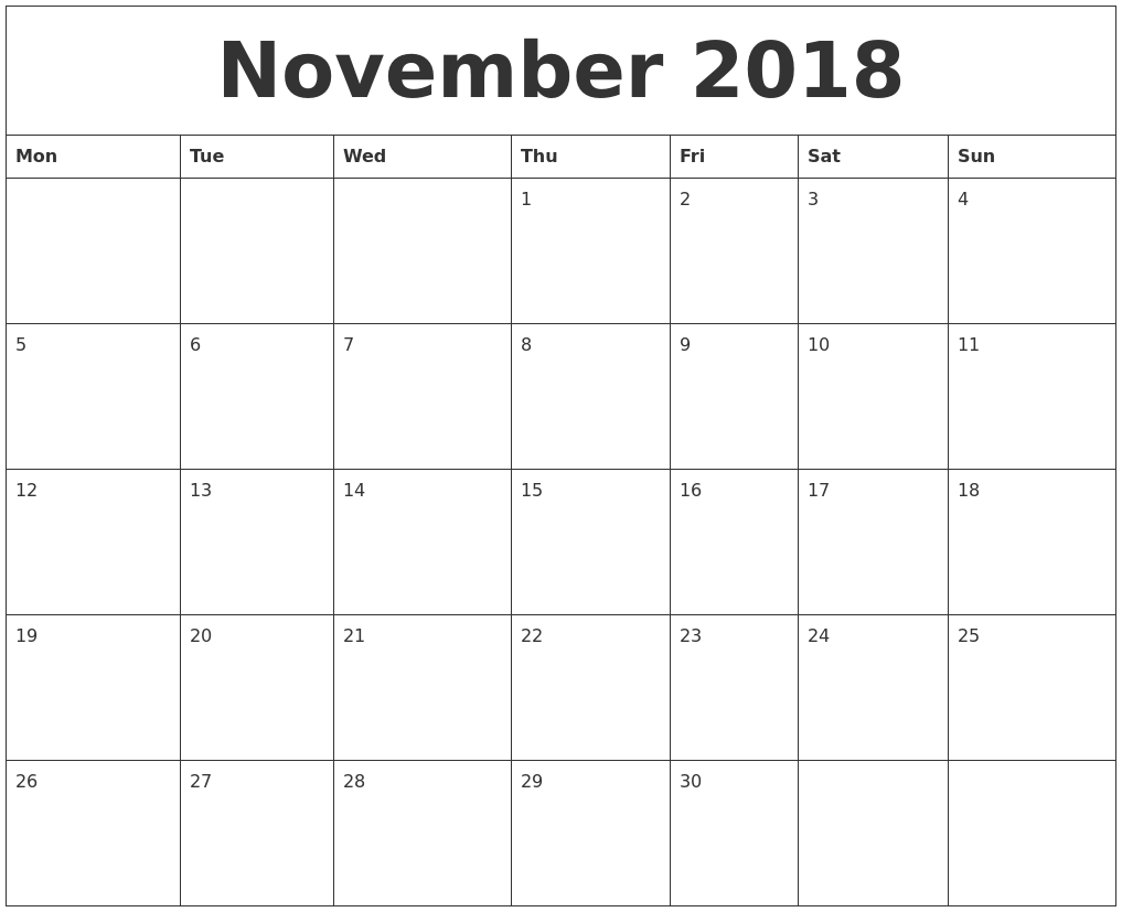 A Free Calendar To Print Print Your Own Free Calendar November 2018 Calendar