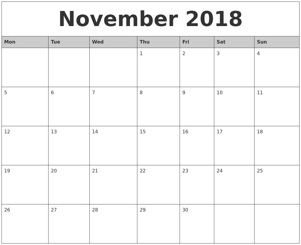 Start Calendar November November 2016 Calendar With Holidays United States November 2018 Monthly Calendar Printable