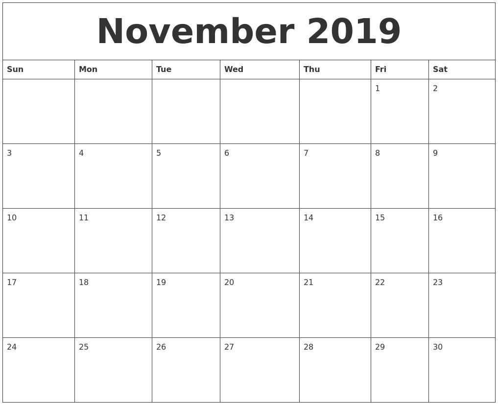 blank 2019 calendar printable