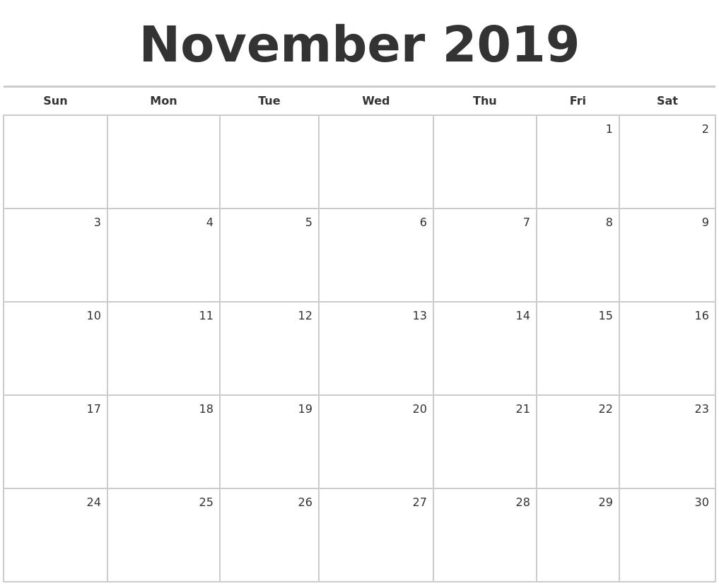 blank monthly calendar november 2019